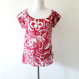 Theory Melka Blouse Hibiscus Tropical Pink Cotton